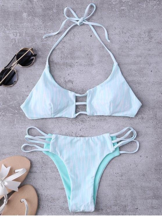 Argyle Halter Ladder Cut Reversible Bikini - WHITE AND GREEN M Mobile