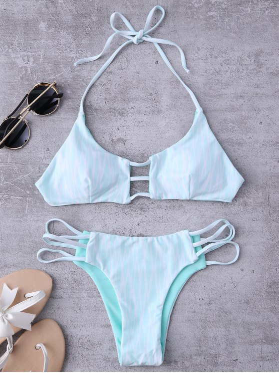 chic Argyle Halter Ladder Cut Reversible Bikini - WHITE AND GREEN S