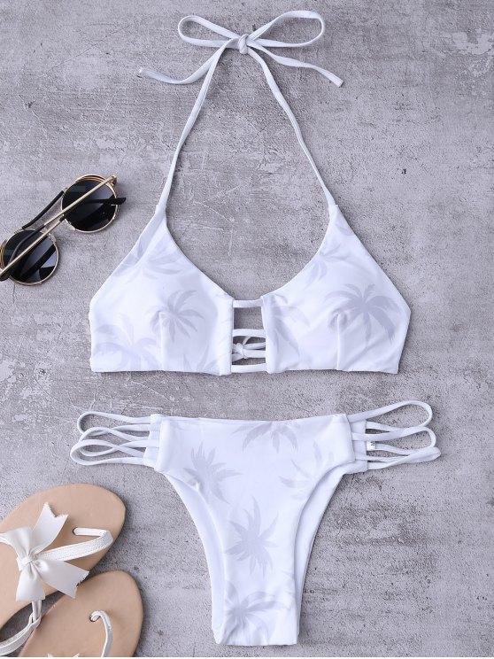 fancy Ladder Cut Halter Coconut Print Bathing Suit - WHITE L
