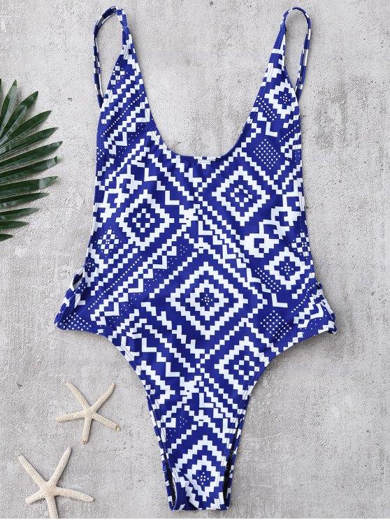 Backless Geometric Print High Cut Swimwear - BLUE S Mobile