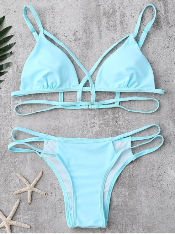 Strappy Bandage Bikini Set - LIGHT BLUE L Mobile