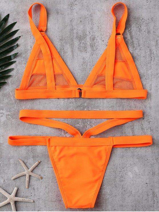 Mesh Panel Bandage Bikini - ORANGE L Mobile