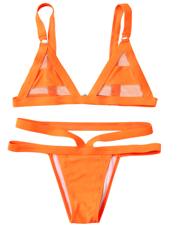 Mesh Panel Bandage Bikini - ORANGE M Mobile