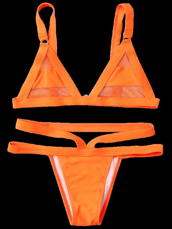 Mesh Panel Bandage Bikini - ORANGE S Mobile