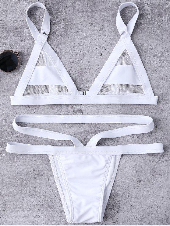 Mesh Panel Bandage Bikini - WHITE XL Mobile