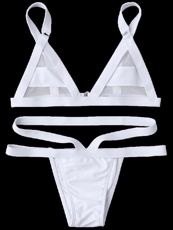 Mesh Panel Bandage Bikini - WHITE L Mobile