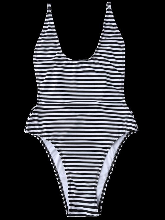 Striped High Cut Swimwear - STRIPE M Mobile