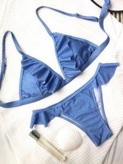 Frilly High Leg Bikini Set - Blue S