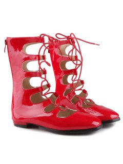 Patent Leather Zipper Flat Shoes - Red 39