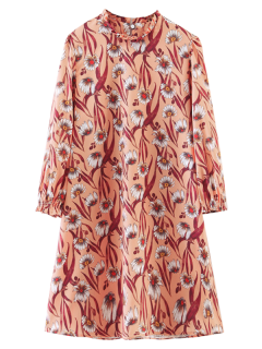 Long Sleeve Sunflower A-Line Dress - Orangepink S