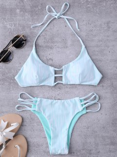 Argyle Halter Ladder Cut Reversible Bikini - White And Green M