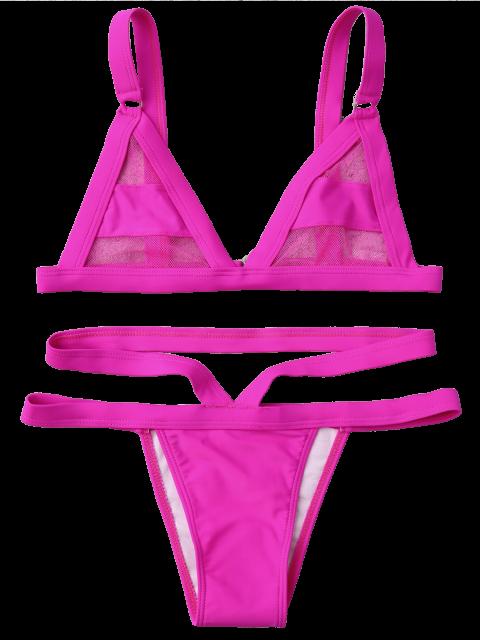 women Mesh Panel Bandage Bikini - TUTTI FRUTTI S Mobile