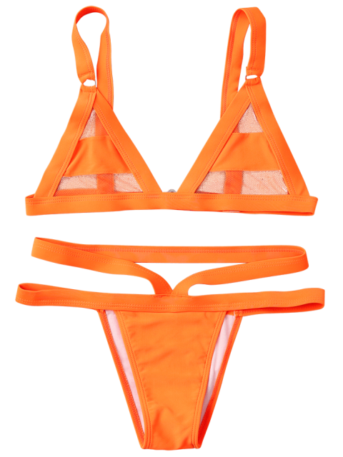 women's Mesh Panel Bandage Bikini - ORANGE XL Mobile