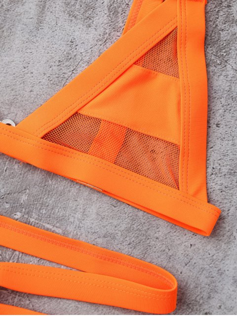 ladies Mesh Panel Bandage Bikini - ORANGE L Mobile