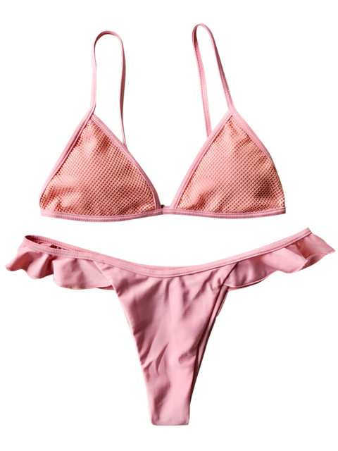 lady Mesh Ruffle Trim Thong Bikini Set - PINK L Mobile