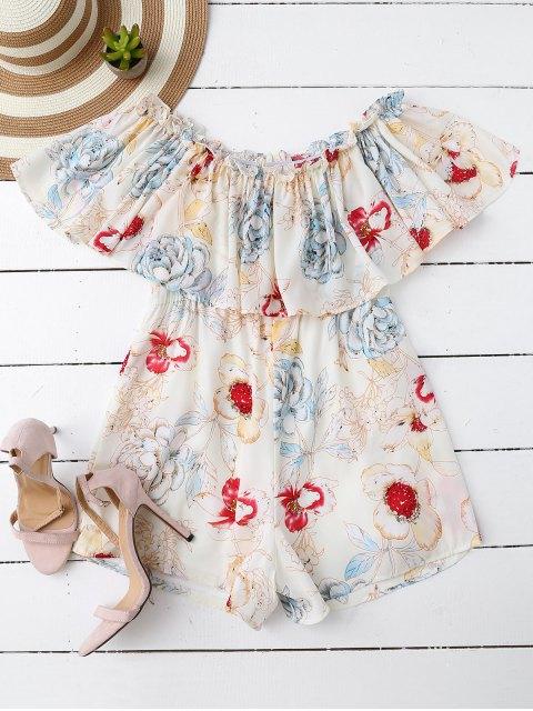 outfits Off Shoulder Floral Romper - WHITE S Mobile