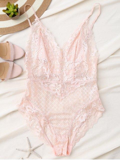 fancy Fishnet Lace High Leg Teddy - LIGHT PINK M Mobile