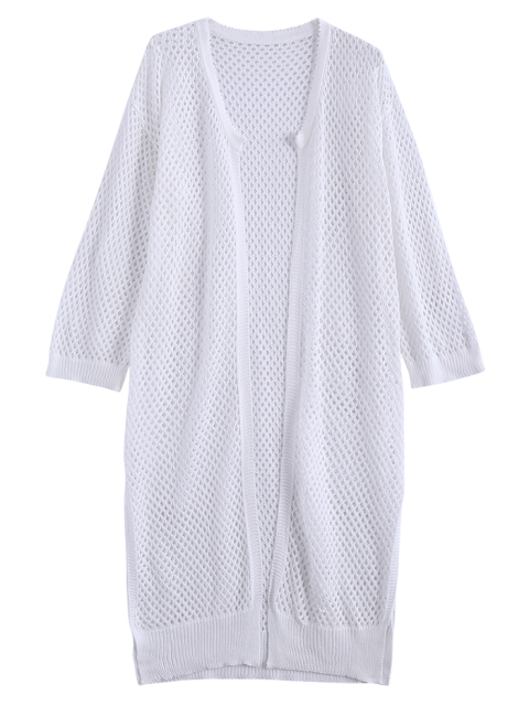 new Open Front Open Knit Beach Cover Up - WHITE ONE SIZE Mobile