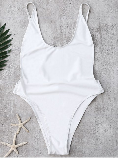 ladies Backless High Cut Swimsuit - WHITE S Mobile