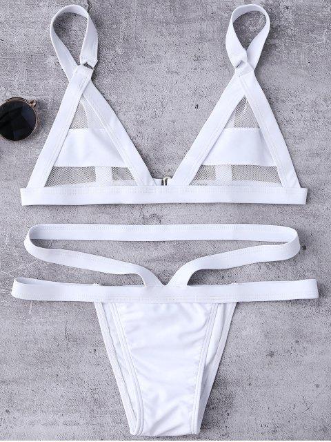 online Mesh Panel Bandage Bikini - WHITE XL Mobile