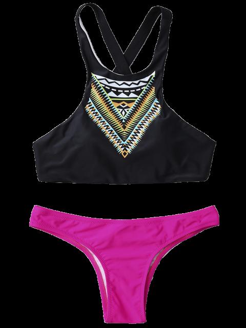 hot High Neck Printed Color Block Bikini - TUTTI FRUTTI S Mobile