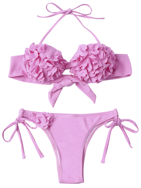 ladies Stereo Flower Applique Halter String Bikini - PINK M Mobile