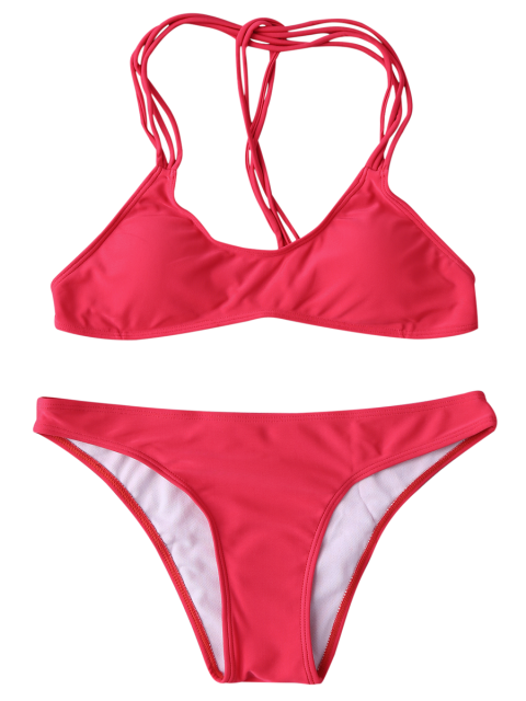 best Strappy T Back Padded Bathing Suit - RED L Mobile