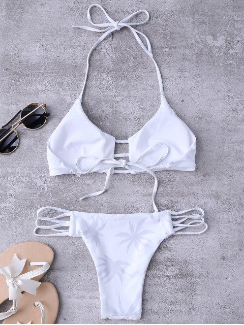 unique Ladder Cut Halter Coconut Print Bathing Suit - WHITE M Mobile
