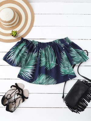 Leaf Print Off The Shoulder Top - Cadetblue
