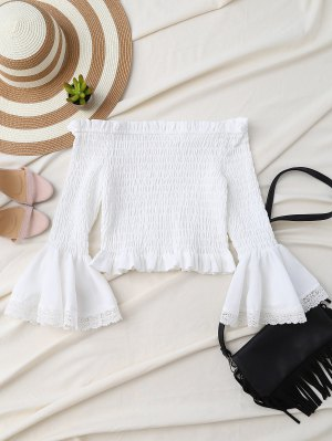 Hombro De Smocked De La Llamarada De La Manga Camisa Corta - Blanco