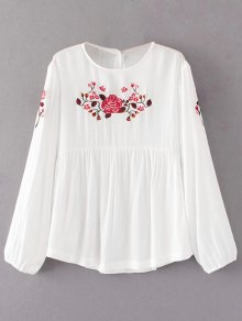 Long Sleeves Embroidered Babydoll Top - White L