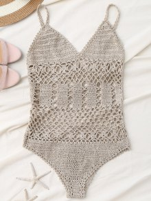 Cami Plunge Crochet Bodysuit - Light Khaki