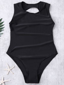 Backless High Cut Swimwear - Black M