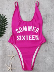 High Cut Letter Swimwear
