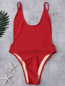Backless High Cut Swimsuit - Red S