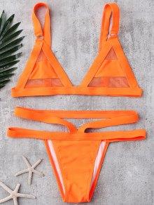 Mesh Panel Bandage Bikini - Orange