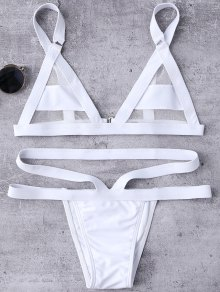 Mesh Panel Bandage Bikini - White
