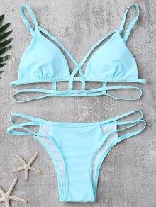 Strappy Bandage Bikini Set - Light Blue