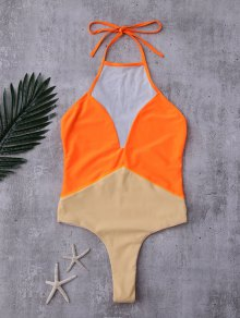 Backless Color Block Mesh Panel Swimwear - Orange S
