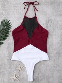 Backless Color Block Mesh Panel Swimwear
