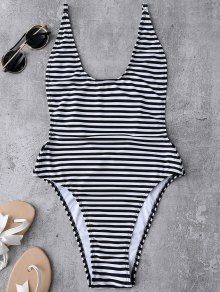 Striped High Cut Swimwear