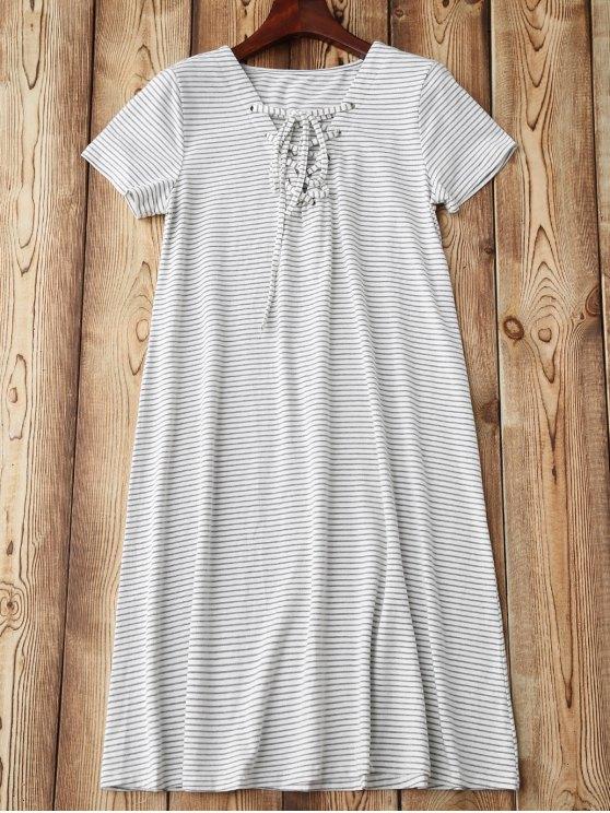 Lace Up Striped Loungewear - STRIPE M Mobile