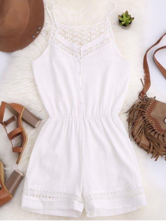 fashion Cami Laser Cut Romper - WHITE S