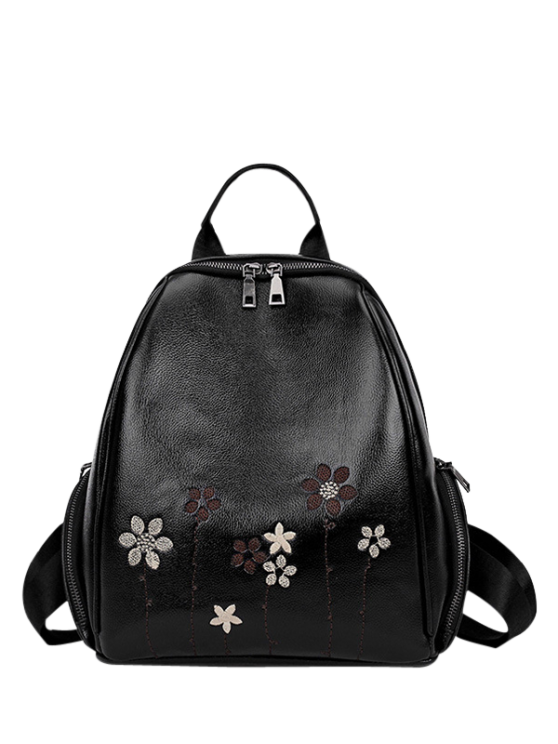 chic Flower Embroidery Faux Leather Backpack - BLACK