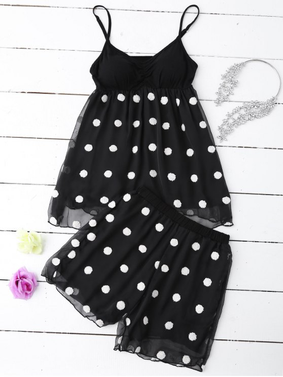Cami Applique Layered Padded Sleepwear Suit - BLACK M Mobile