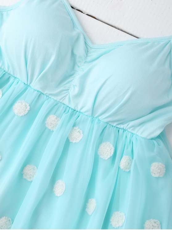 Cami Applique Layered Padded Sleepwear Suit - PINKISH BLUE M Mobile