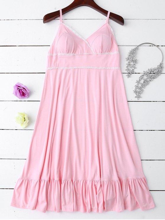outfit Slip Lace Ruffle Hem Babydoll - LIGHT PINK M