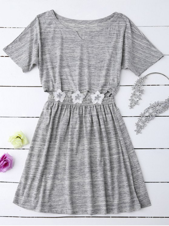 Heathered Cut Out Floral Patched Waist Babydoll - GRAY M Mobile