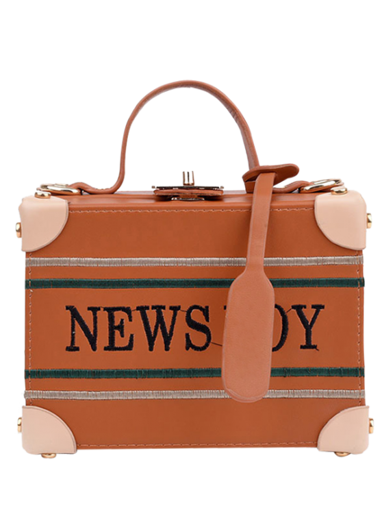 fashion News Boy Embroidered Box Handbag - LIGHT BROWN