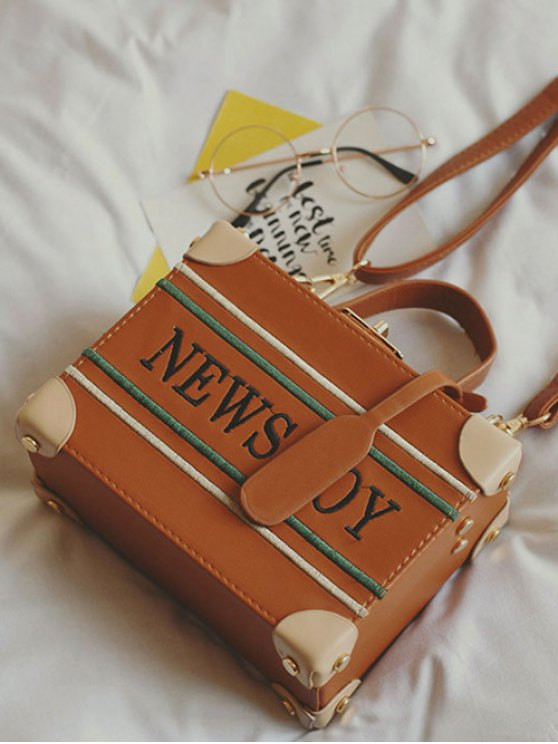 News Boy Embroidered Box Handbag - LIGHT BROWN  Mobile